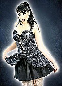 Black Pistol Punk Mini Dress Black-White, Spider