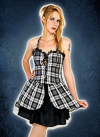 Black Pistol Punk Mini Dress Black-White, Tartan