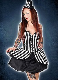 Black Pistol Punk Mini Dress Stripe Denim