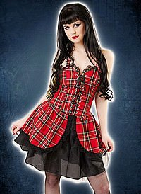 Black Pistol Punk Mini Dress Tartan