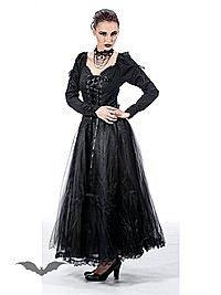 Bodenlanges Kleid mit Schnürung und Tüll
