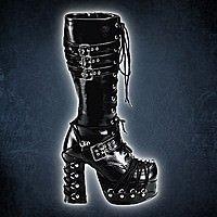 Demonia Charade-206 Gothic Stiefel Kunstleder schwarz