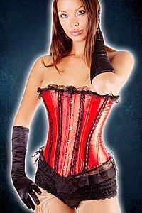 Gothic Corsage mit Spitze rot-schwarz