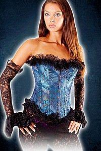 Gothic Korsett Brokat mit Rüschen, blau