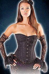 Gothic Korsett Brokat schwarz