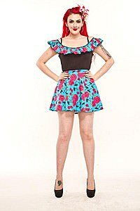 Hawaiian Print Flared Pinup Rock