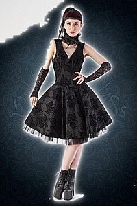 Kiara black flock circle Kleid