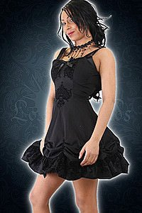 Kiara gothic black flock satin Kleid
