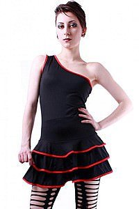One Shoulder Ruffle Gothic Kleid