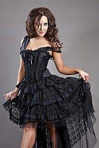 Ophelie Gothic Korsett-Kleid Schwarz