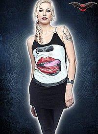 Punk Kleid mit Mund Motiv