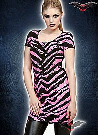 Punkkleid mit pink-schwarzen Zebrastreifen