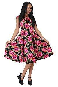 Rose Print Pinup Kleid