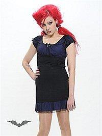 Schwarz-lilanes Kleid mit Schleife