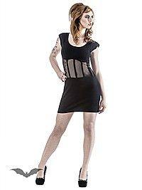 Schwarzes Kleid mit transparentem Einsatz