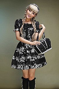 Visual Kei Dead Flowers Kleid Gothic Mini-Kleid