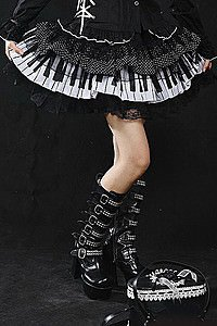 Visual Kei Piano Keys Gothic Minirock