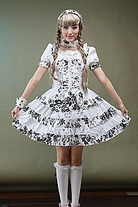 Visual Kei White Flowers Kleid Gothic Mini-Kleid