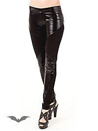 Wet Look Leggings mit Baumwoll-Eins�tzen