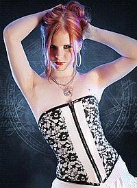 White & Black Lace Korsett, Lack & Spitze