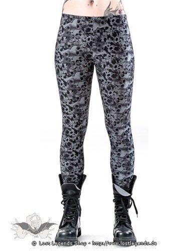 graue leggings mit totenkopf und rosen muster. Black Bedroom Furniture Sets. Home Design Ideas