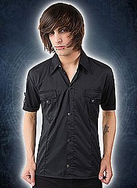 Black Pistol Cuff Shirt Fine Denim Black