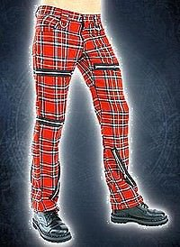 Black Pistol Destroy Pants Tartan Red