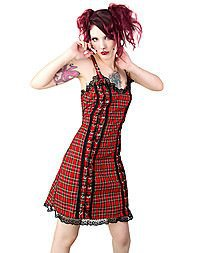 Black Pistol Eyelett Mini Dress Tartan Red