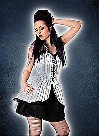 Black Pistol Punk Mini Dress Pin Stripe White-Black