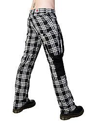 Black Pistol Punk Pants Tartan Black -White