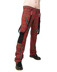 Black Pistol Punk Pants Tartan Red-Green