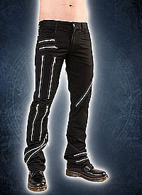 Black Pistol Zipper Pants Denim Black