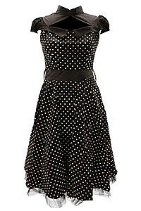 Black Polka Dot Flare Gothic Kleid