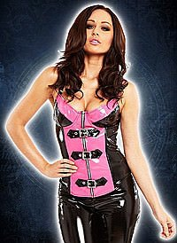 Bombshell Buckle Top Lack, black-pink