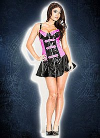 Buckled Biker Dress Lack, black-pink
