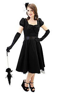 Canvas Bow Gothic Pinup Kleid