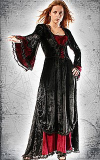 Cathedral Queen Gothic-Kleid, Samt