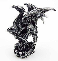 Dragon Black Sitting On Rock