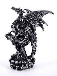 Dragon Black Standing On Rock