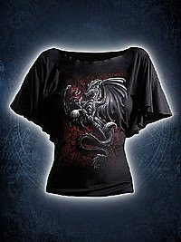 Dragon Rose Girlie Latin Shirt schwarz SPIRAL