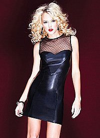 Dress with Dot Mesh Wetlook
