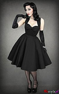 Gothic Kleid 50s BLACK DRESS
