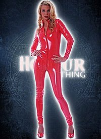 Harlot Catsuit Lack, Rot