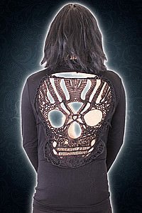 Long sleeved cut out skull back top