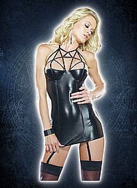 Mini Dress With Lattice Neckline Wetlook