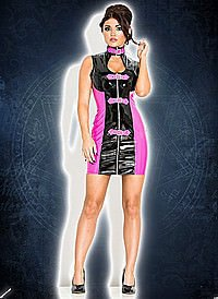 Night Raver Mini Dress Lack, black-pink