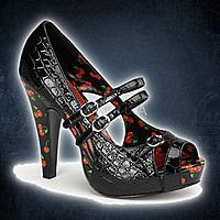 BETTIE-08 Schwarz Croc Lack mit Cherries