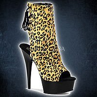 Pleaser DELIGHT-1018LP Tan Leopard- Schwarz
