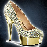 Pleaser DELIGHT-685G Gold Multi Glitter-Gold Chrom
