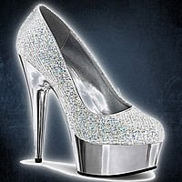 Pleaser DELIGHT-685G Silber Multi Glitter-Silber Chrom